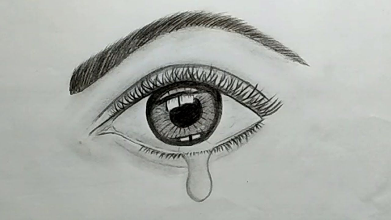 Pencil Drawing Tutorial How To Draw A Crying Eye With Pencil Sketch For Beginners Crying Eye Drawing Drawing Tutorial Pencil Drawing Tutorials