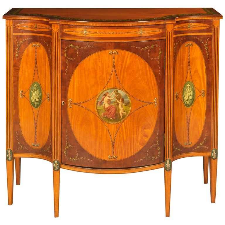 19th Century English Cabinet With Neoclassical Painted Scenes Hand Decor Furniture Side