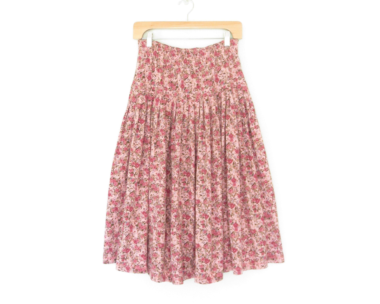 98bce51fe Jersey Knit Skirt, Drop Waist, Vintage Floral, Pink Flowers, Elastic Waist,