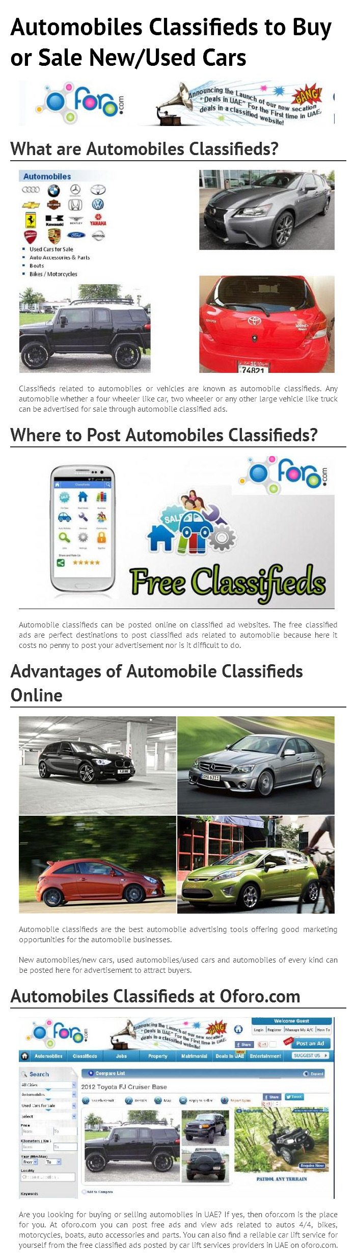 Know in brief about classifieds related to automobiles or vehicles ...