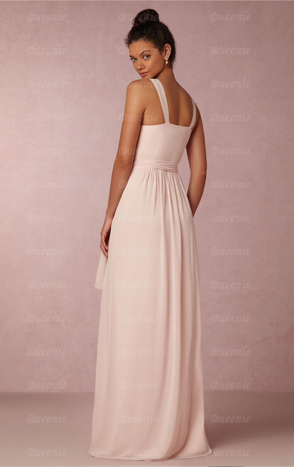 Designer light pink long bridesmaid dress bnndebridesmaid uk