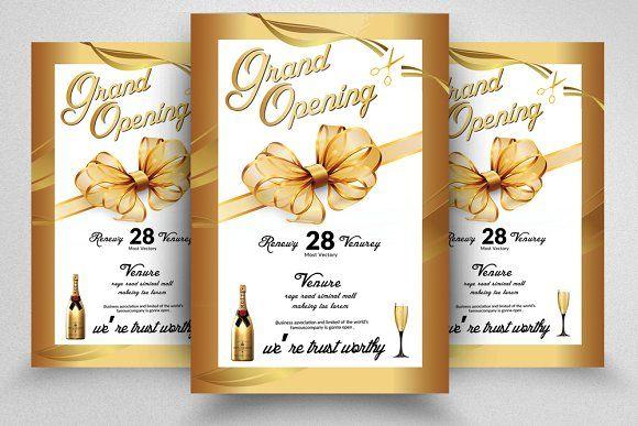 Golden Grand Opening Flyer Template Grand Opening Invitations Invitation Template Flyer Template