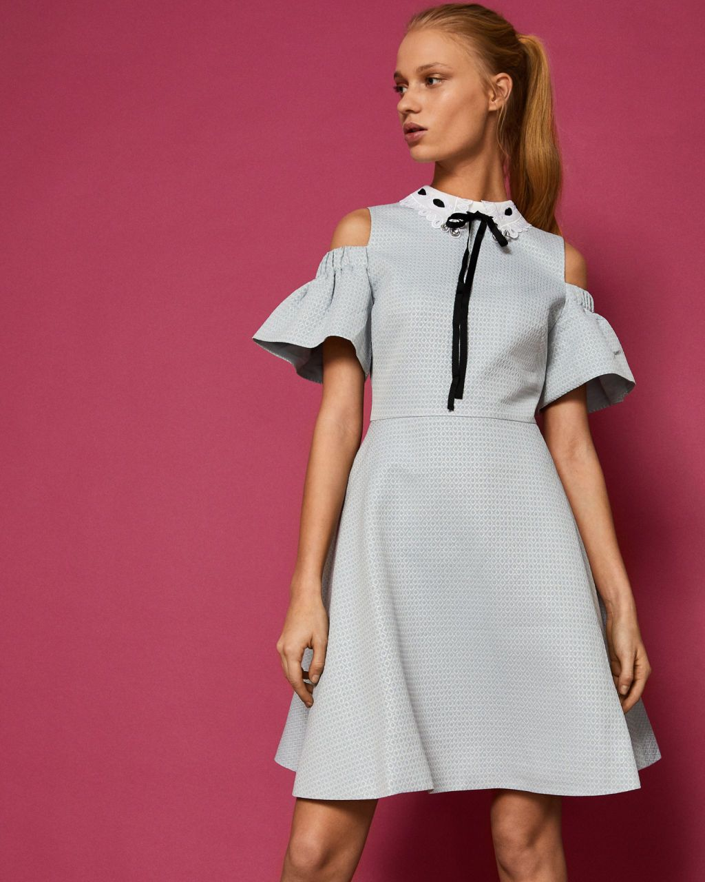 Cold shoulder bow detail dress - Baby Blue  e8a3c1de0fd