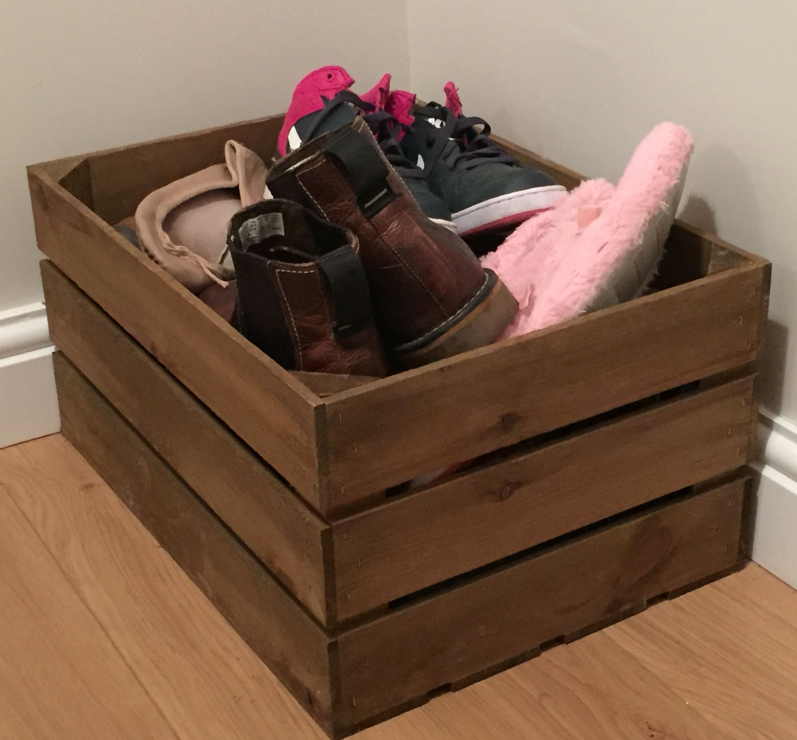 Why Not Use A Large Rustic Wooden Crate As A Shoe Box Woodenboxuk Wooden Wine Boxes Wooden Crates Crates