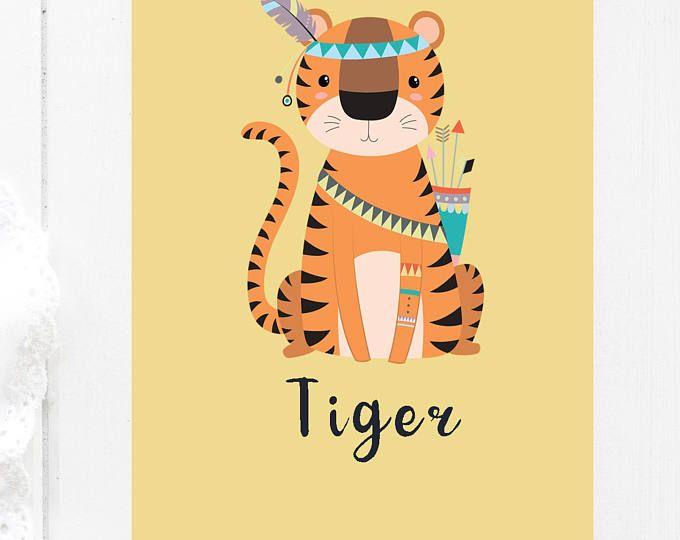 Jungle Nursery Art,Tiger Print Wall Decor, Printable Childrens ...