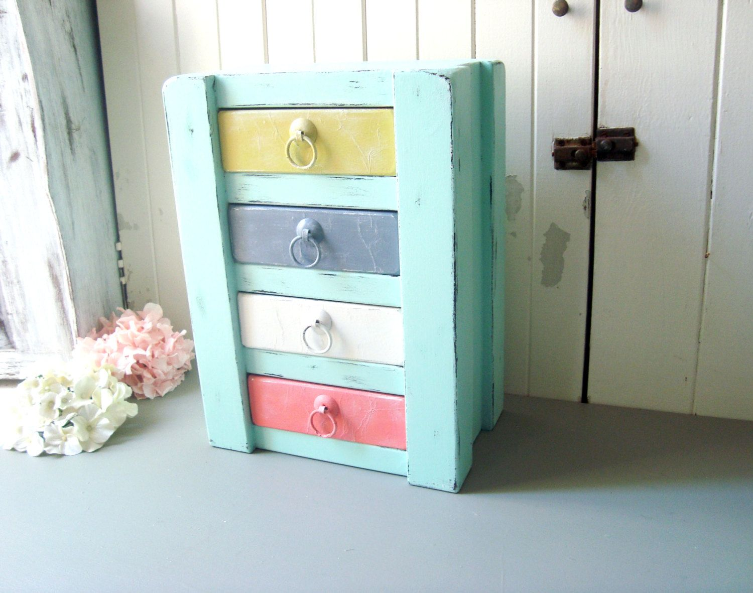 Mint Shabby Chic Jewelry Box With Multi Color Drawers, Mint Storage Box,  Craft Storage