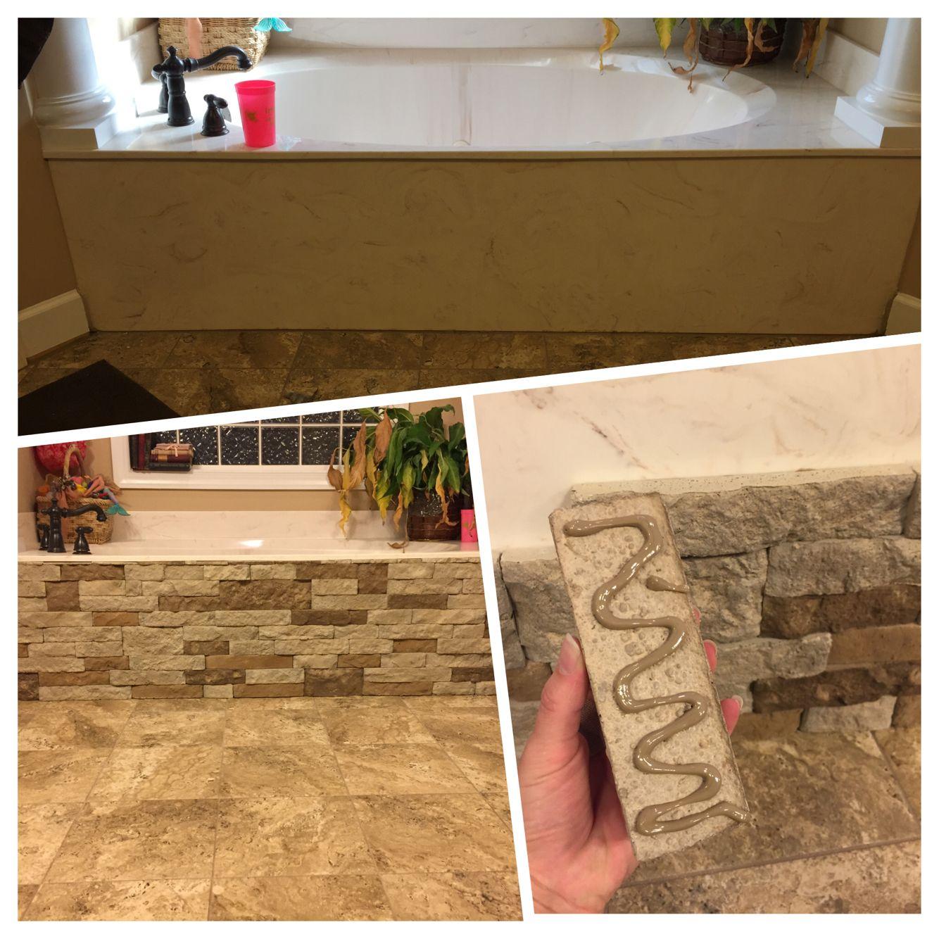Bathtub redo. Airstone, adhesive and time! Super easy