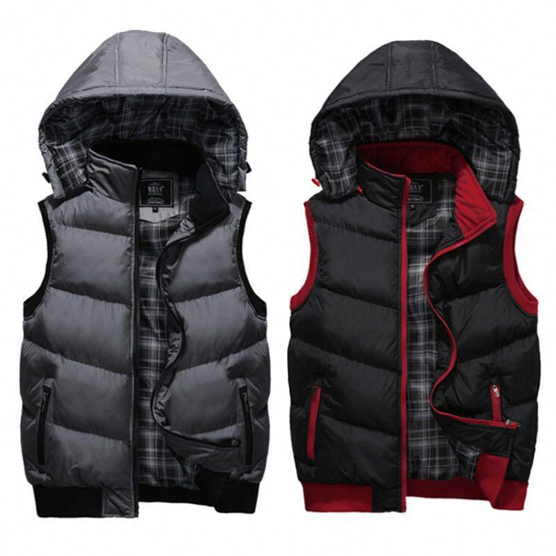 Men S Winter Hooded Zip Vest Coats Slim Warm Sleeveless Cotton Jacket Waistcoat Factorymade Mensfashionw Mens Winter Fashion Duck Jacket Men Mens Hooded Vest