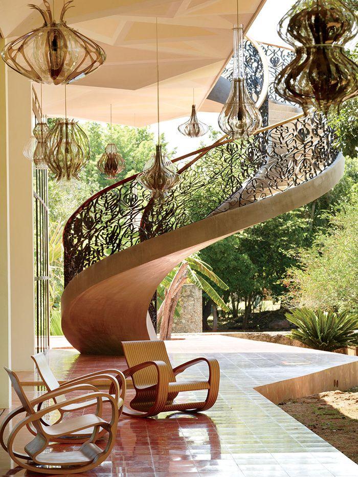 La maison de Jorge Pardo au Mexique Suspension en verre, Caisson