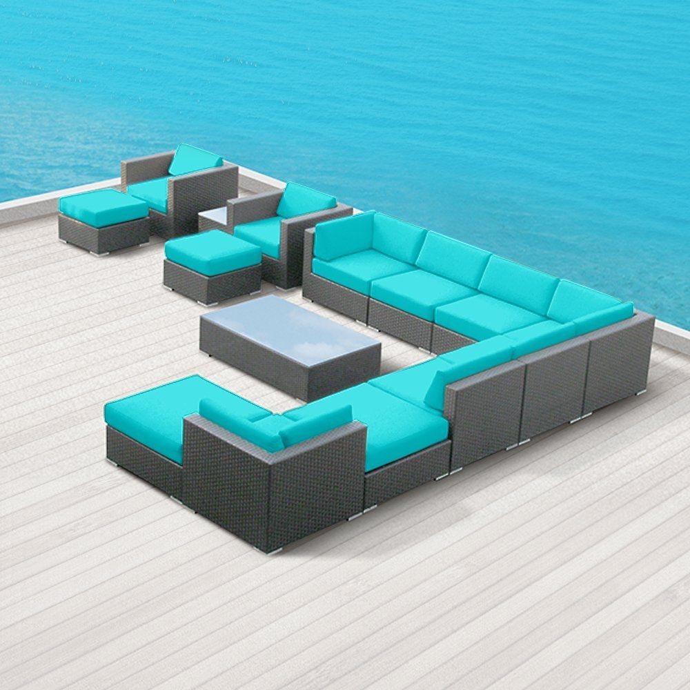 Amazon Modern Outdoor Patio Furniture Wicker Bella 15 PIECE TURQUOISE