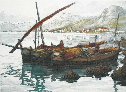 Fishing boat on lake (?), France, by Marcel Julien Baron