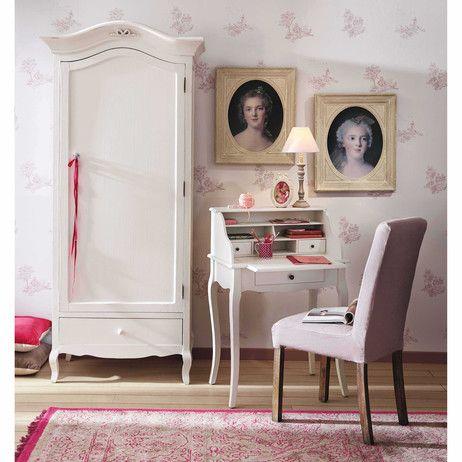 Bureau secrétaire en bois blanc L 68 cm Séraphine | Maisons du Monde | Mobilier de salon ...