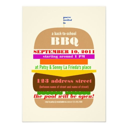 Cheeseburger BBQ Cookout Invitation Template – Bbq Invitation Template