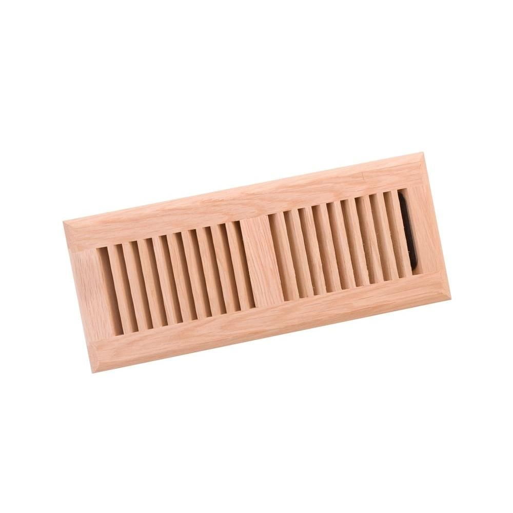 4 in. x 12 in. Wood White Oak Unfinished Surface Mount Register