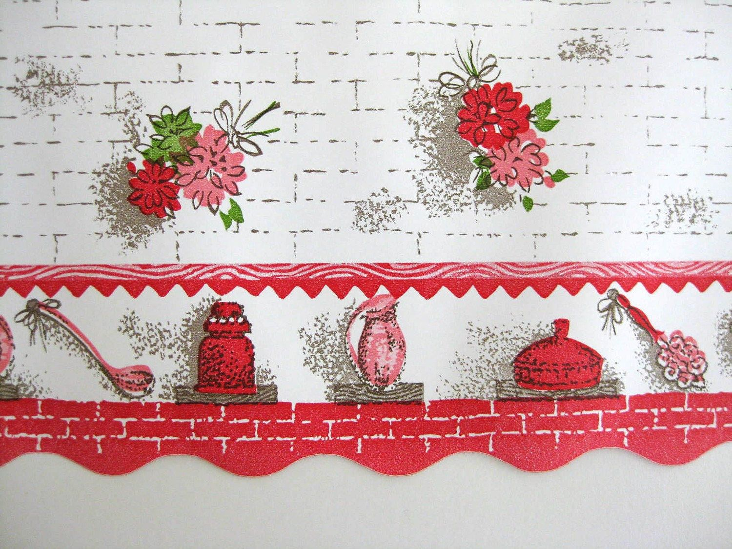 Floral Kitchen Wallpaper Border (Wide Unused Roll) SALE
