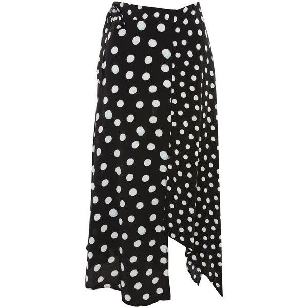 1d43c36c69 Topshop Spotted Hanky Hem Skirt (64 AUD) ❤ liked on Polyvore featuring  skirts, monochrome, midi skirts, polka dot skirts, topshop skirts, dot skirt  and ...