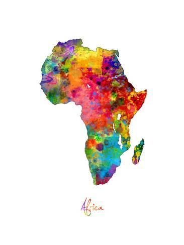 Art Print Africa Watercolor Map By Michael Tompsett 24x18in