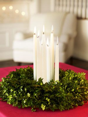 simple centerpiece...boxwood wreath with tapers