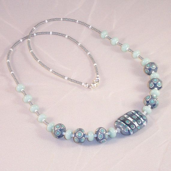 Lampwork Glass Necklace Oxford Grey by LiteratePackrat on Etsy, $57.00
