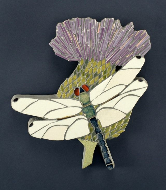 Dragonfly constructed of 100% salvaged building materials by Borg Mosaics