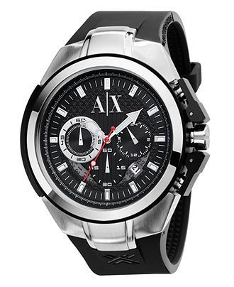 A|X Armani Exchange Watch, Men's Chronograph Black Polyurethane Strap 45mm AX1042 - All Watches - Jewelry & Watches - Macy's