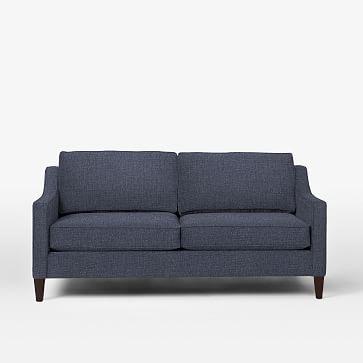 "Paidge 72.5"" Sofa, Down Blend, Pebble Weave, Aegean Blue, Taper Pecan"