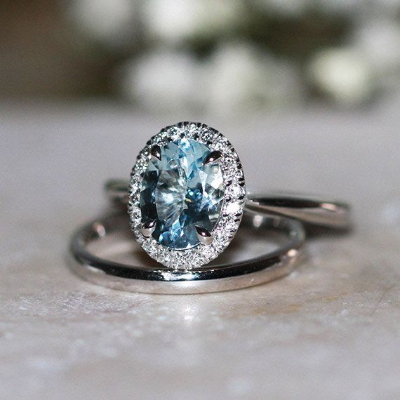 Angara Vintage Diamond Dotted Frame Aquamarine Ring in 14k Rose Gold vtWS0Vrsz2