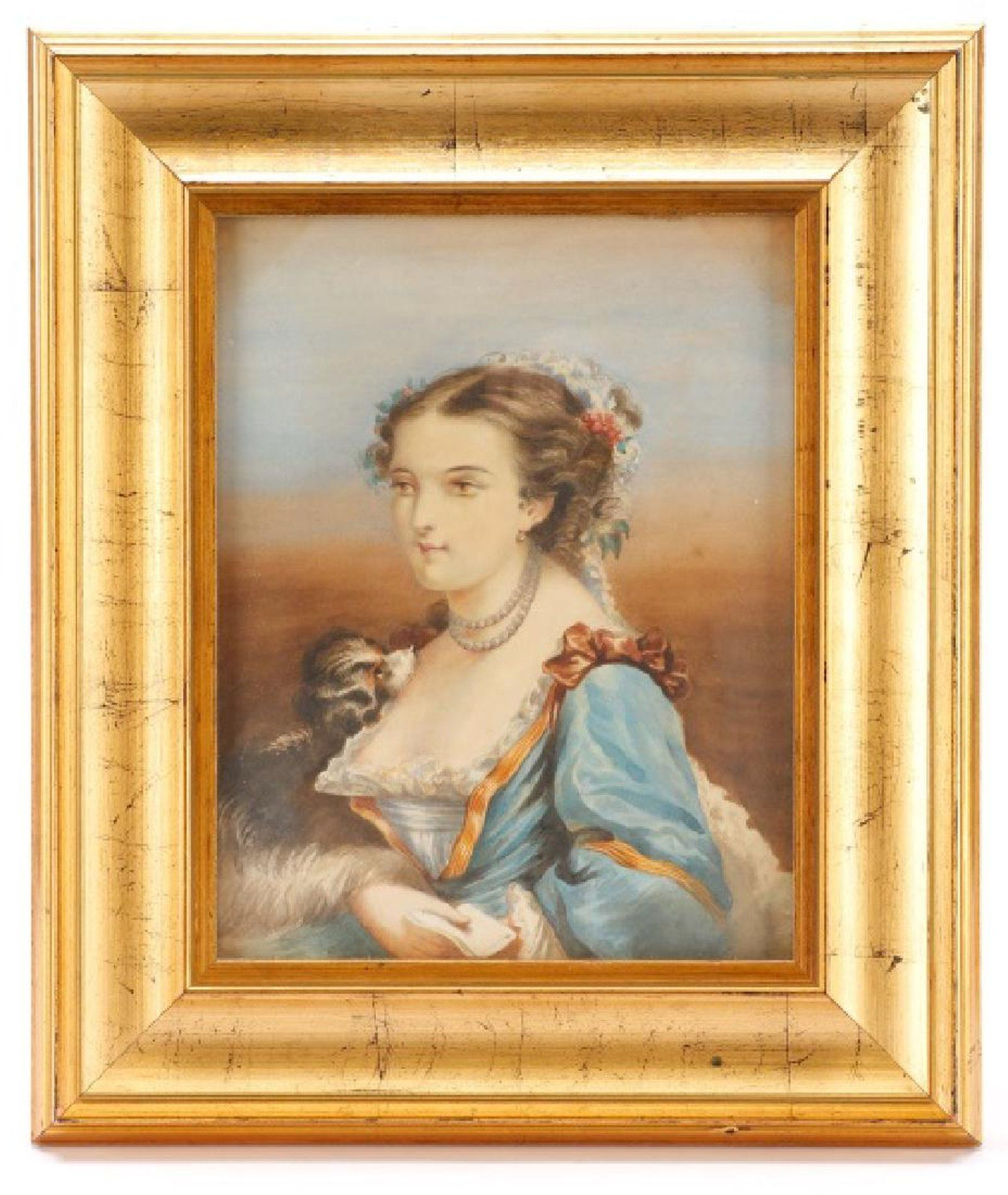 Victorian Watercolor \'Young Woman with a Dog\