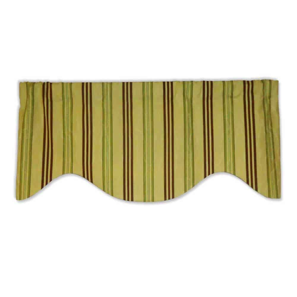 Green And Brown Stripe Shaped Valance Curtain Shaped Valance
