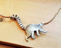 Ring-tailed Lemur Sterling Silver Necklace
