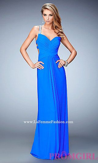 Long Open Back La Femme Dress with Beaded Straps at PromGirl.com