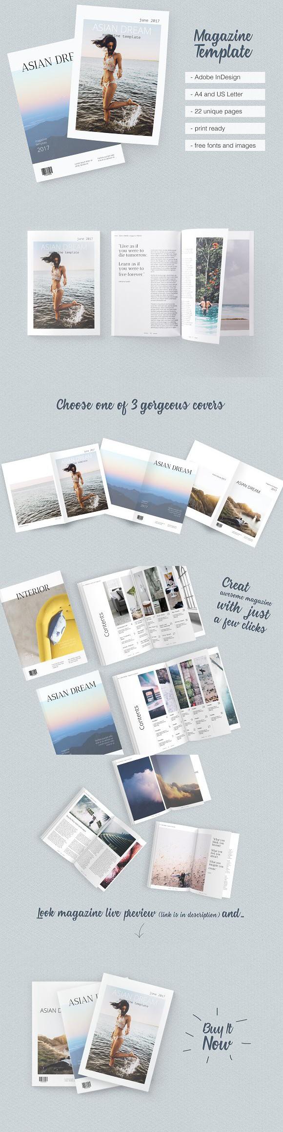 Asian Dream Magazine Template. Magazine Templates | Magazine ...