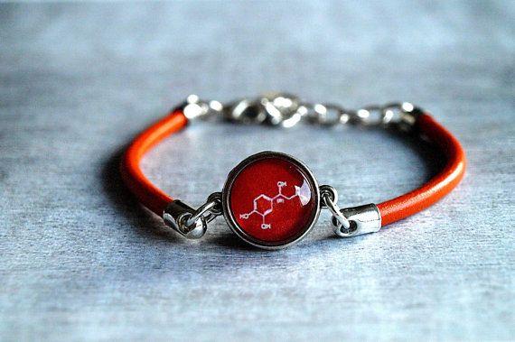 Adrenaline molecule bracelet Red leather bracelet by ShoShanaArt, $17.80