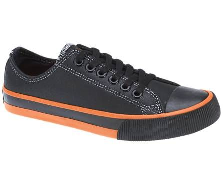 Footwear · Harley-Davidson footwear men's Roarke black leather sneakers  with orange trim