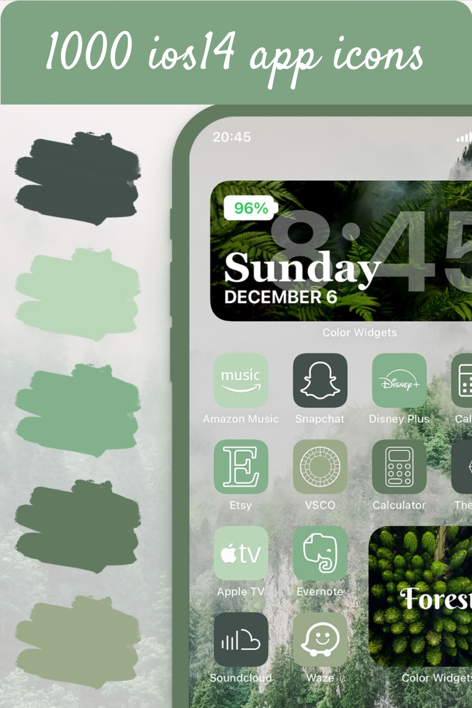 Aesthetic Green App Ios Icons For Iphone 1000 Sage Green Icon Bundle Theme Pack Mint App App Icon Ios Apps