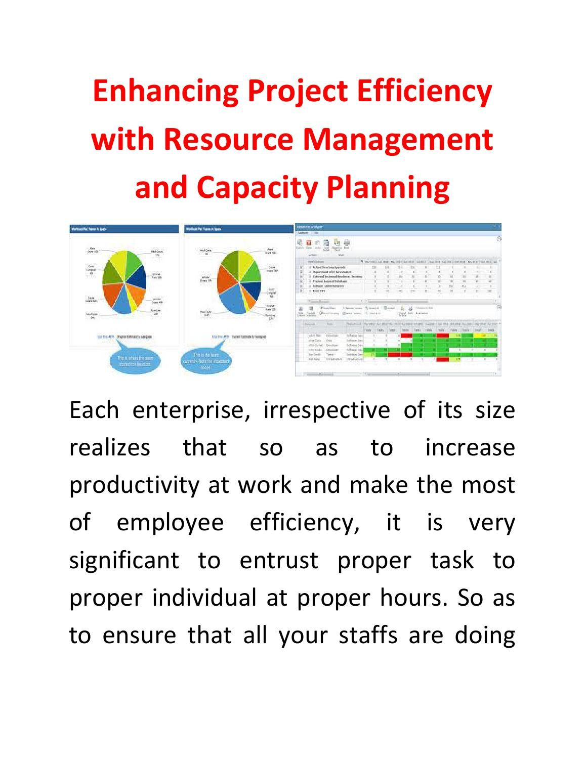 Manage Resource Enhancing Project Efficiency With Resource Management And Capacity