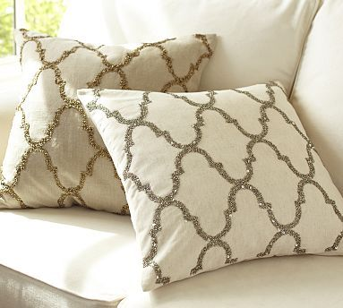 Pottery Barn Pillow Inserts Inspiration Rustic Luxe Sequin Tile Pillow Cover #potterybarn $5950 Gold To Go Decorating Inspiration