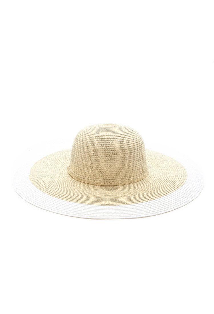 fac04a0939ecc Contrast-Trim Floppy Straw Hat
