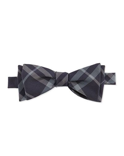 9c82d298 N2U0Y Burberry Check Silk-Blend Bow Tie, Navy   bow ties   Tie, Bows ...