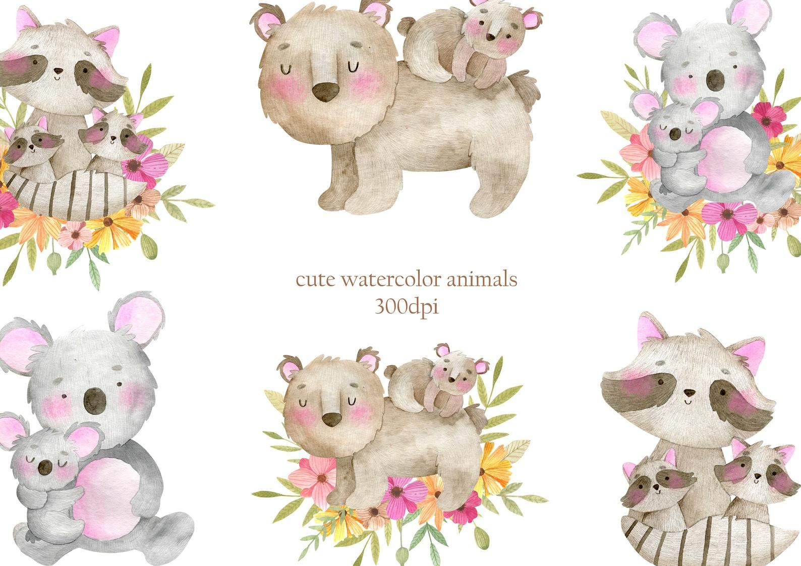 Mom Me Watercolor Animals Clipart Mothers Day Mother And Etsy Watercolor Animals Animal Clipart Animals