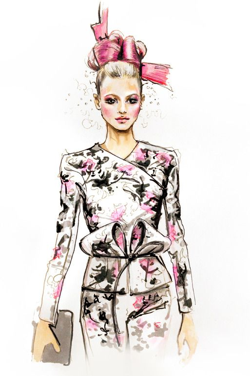 "Jessica Rae Sommer; Colored Pencils, 2012, Drawing ""Fashion Illustration Armani 1"""