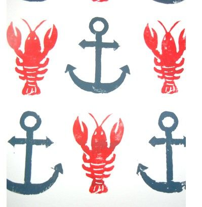 BLOCK PRINT - Lobsters & Anchors