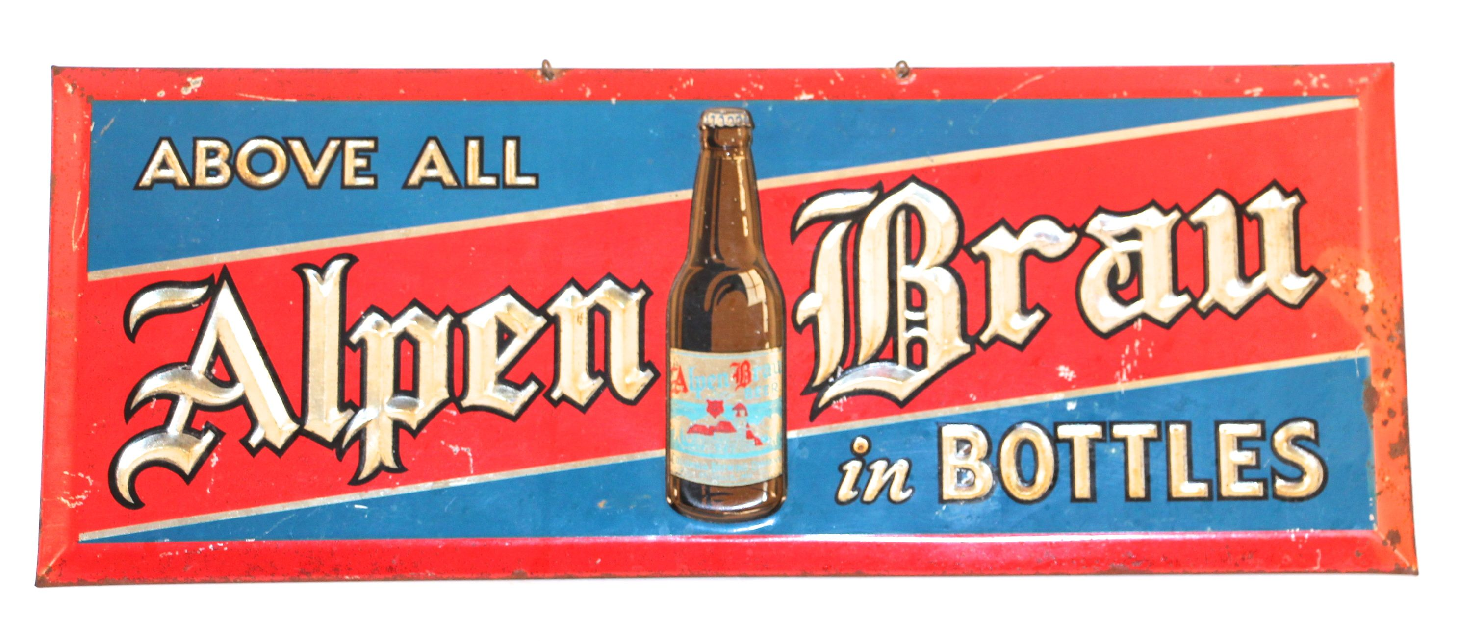 Alpen Brau Beer Tin Over Cardboard Sign Columbia Brewing Co 1940 Alpen Beer Brewery Signs