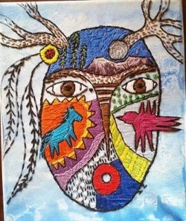 """SOLD  Painted 8"""" x 10"""" canvas with original design hand embroidery"""