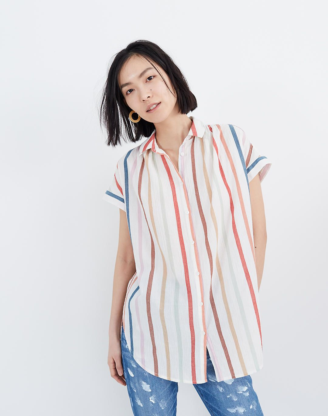 936400d033e Gauze Central Tunic Shirt in Rainbow Stripe in 2019 | Spring ...