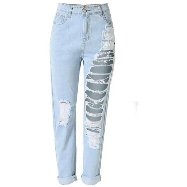 e07262c62f Women's Ripped Hole Loose-Fit Cropped Denim Jeans Light Blue ($28) ❤ liked  on Polyvore featuring tops, blue crop top, cut-out crop tops, boyfriend  top, ...