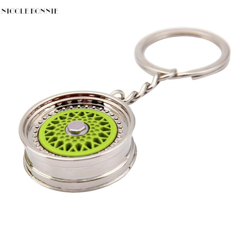 Naivety 1PC Popular Cool Metal Mini Wheel Rim Tyre Chain Ring Ornaments For Handbag Bag 15S7221 drop shipping