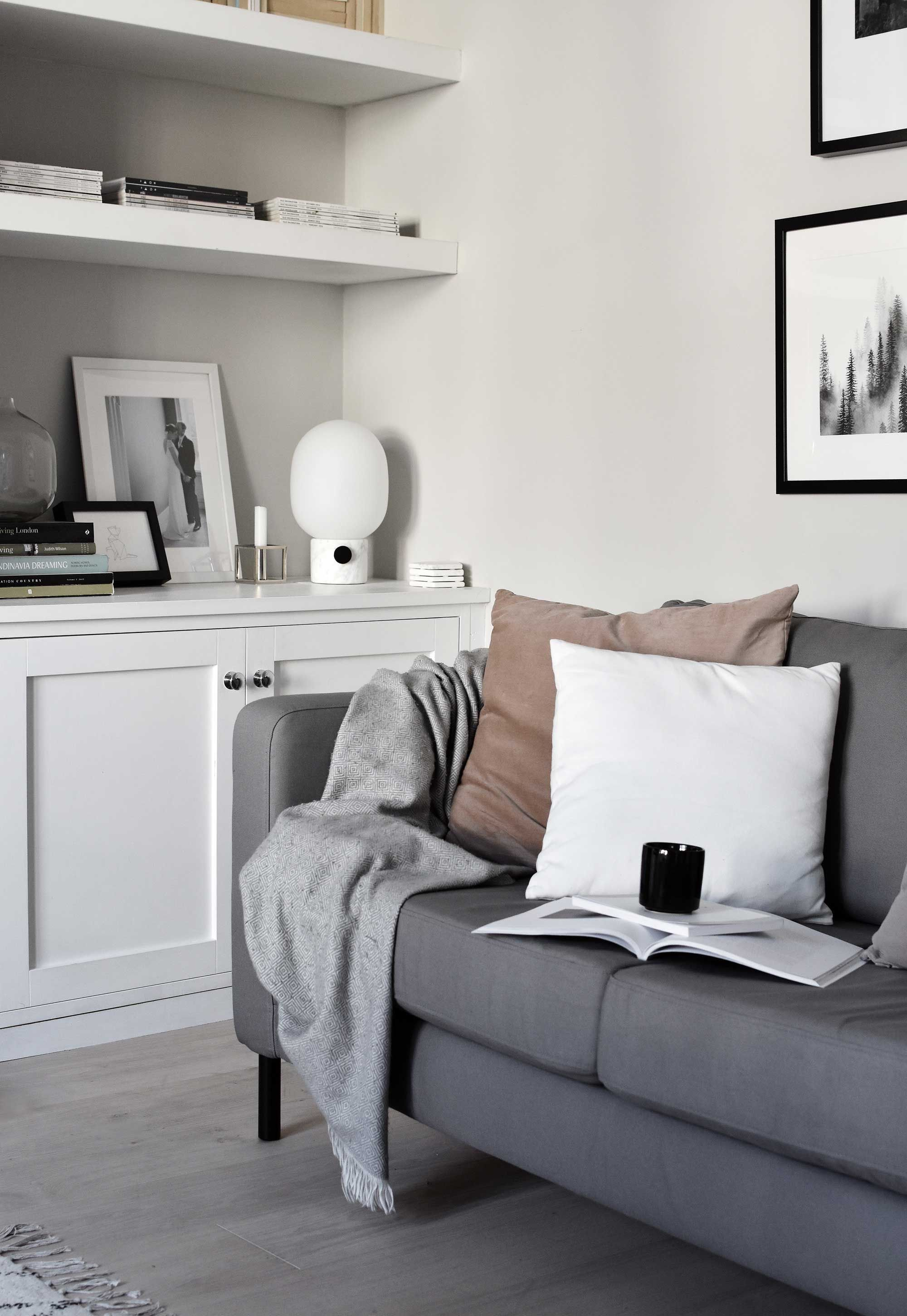 These Four Walls Scandinavian Style Living Room Features A Chic Grey And White Colour Palette Her Minimal Built In Bookshelves Are Perfectly Styled With