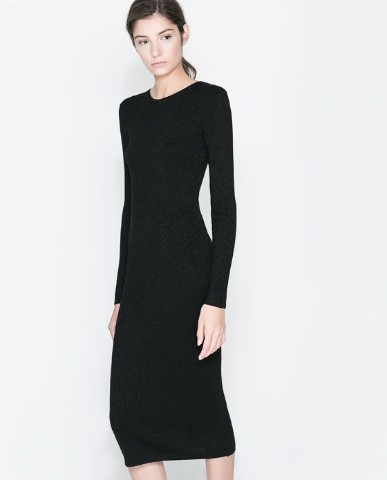 Image 3 Of Long Ribbed Dress From Zara 79 Sept 13 Dinner Dress Classy Simple Black Dress Shopping Outfit