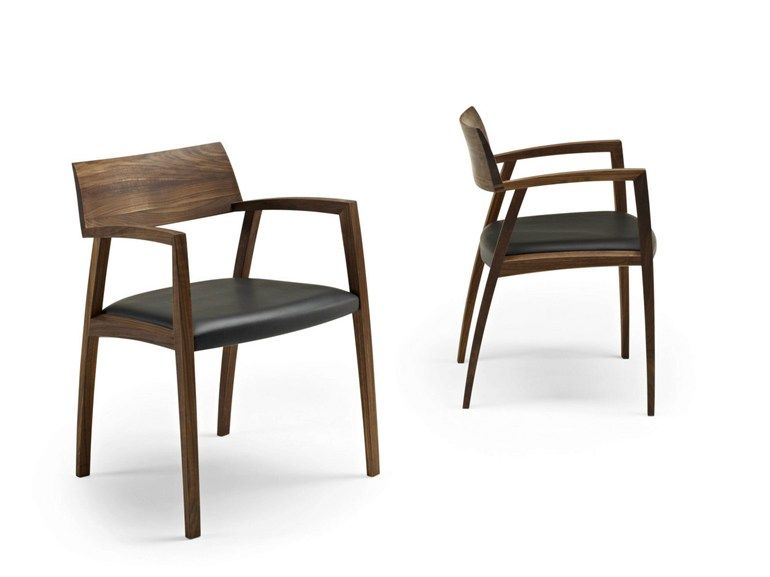 Upholstered walnut chair with armrests GM 326 CURVE by Naver Collection | design Nissen and Gehl